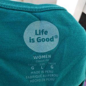 Life Is Good Tops - Two Life is Good T-Shirts, Aqua and Grey Sz L